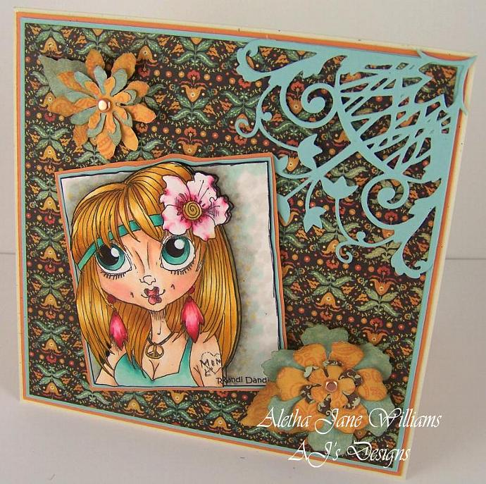 Flower Power handmade blank greeting card for any occasion
