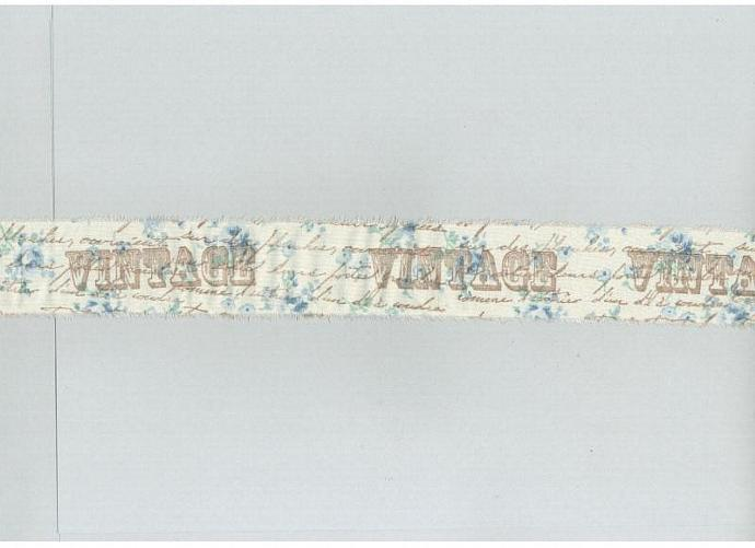VINTAGE  french blue floral fabric rubber stamped ribbon1.5 inches wide (item 75