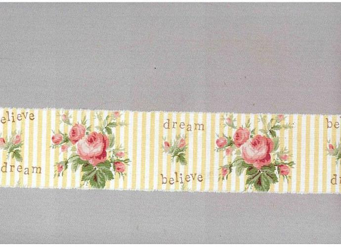 """Believe Dream vintage inspired pink rose Muslin ribbon handmade 2.75""""   c 707"""
