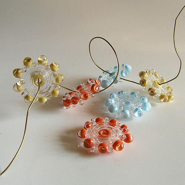 Multi Color Lampwork Glass Beads,  Handmade Lampwork Glass Beads, Bubble Beads