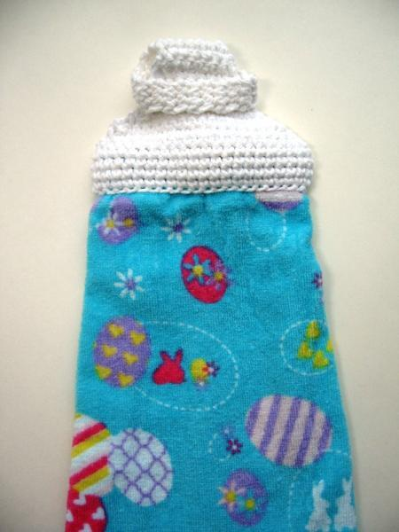 Easter Eggs Crochet Top Towel, No Button, No Snaps, No Ties, No Velcro
