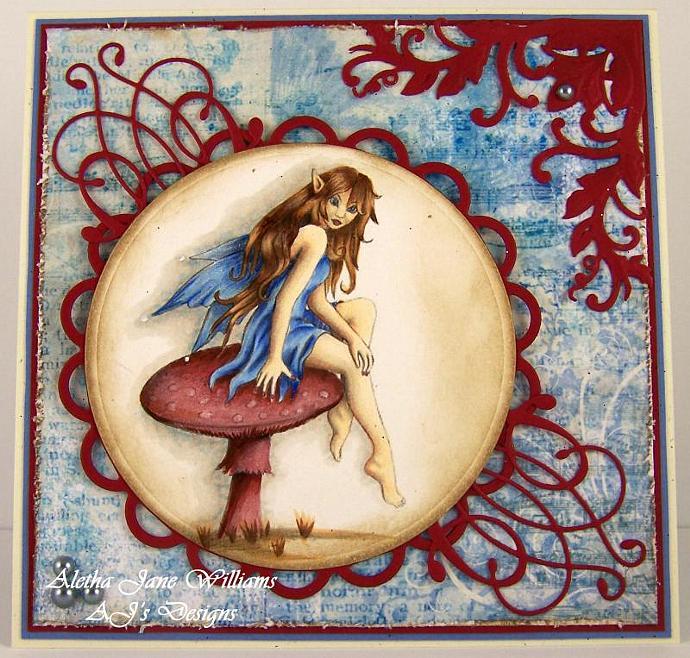 Mushroom Fairy handmade blank art card