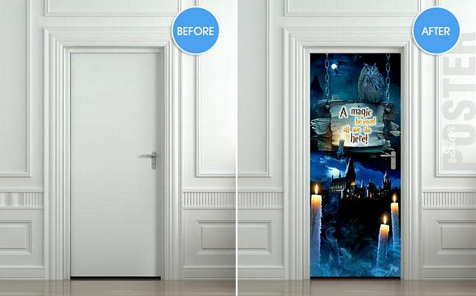 Door STICKER harry potter magic hogwarts hedwig mural decole film poster