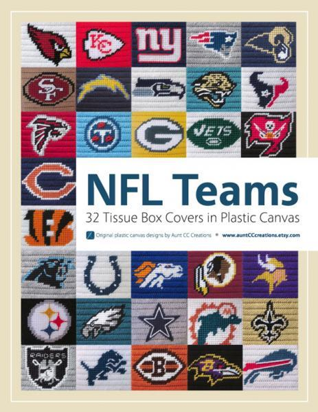 NFL-themed tissue box covers in plastic canvas eBook of all 32 teams patterns