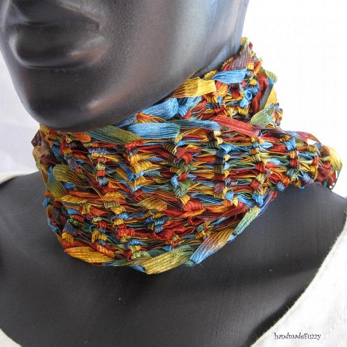 multicolor hand knitted scarf