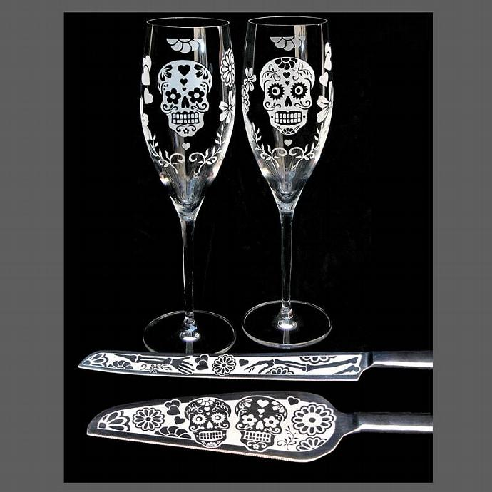 Personalized Sugar Skull Wedding Serving Set w/ Toasting Flutes, Cake Server and