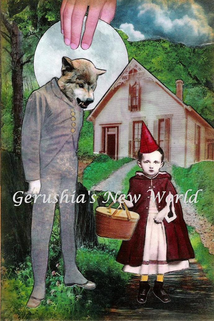 An Unexpected Visitor ~ Anthropomorphic Watercolor Collage Print