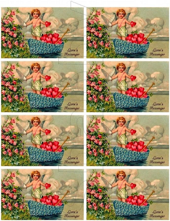 Shabby Chic Vintage Cherub boat  Roses collage sheet for scrapbook and cards