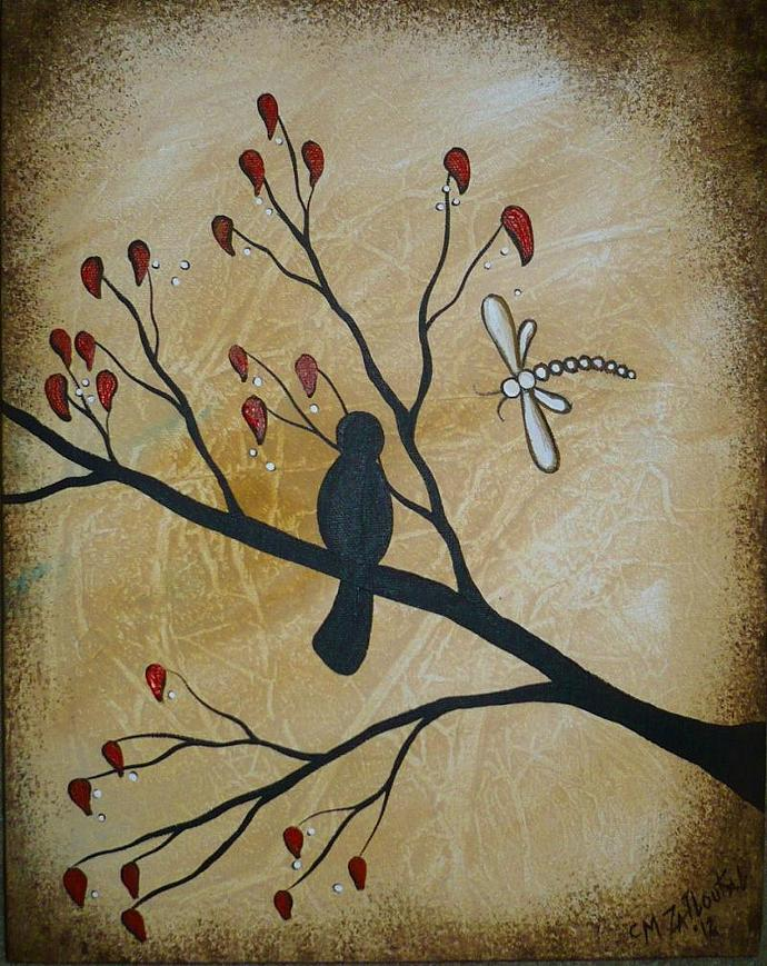 SALE - Original Abstract Textured  Bird Art on Tree Branch with Dragonfly