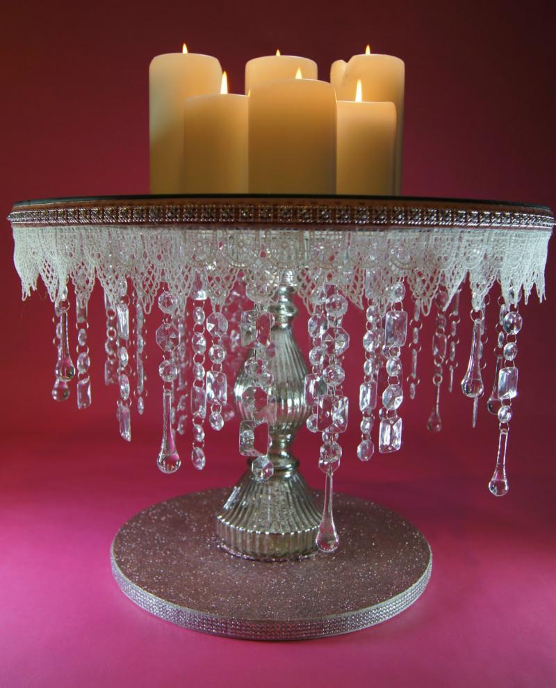18 Inch Round Crystal Mirrored Wedding Cake Noblenest