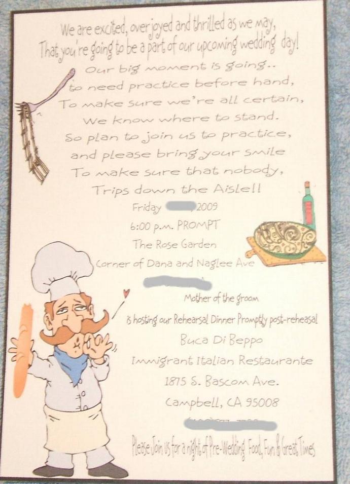 50 custom designed rehearsal dinner invitations wi