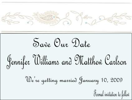 Modern paisley border Save the Date Card