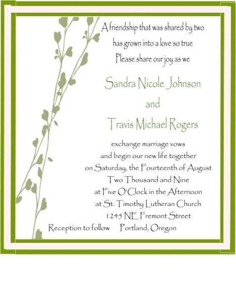 Spring vine graphic pocketfold wedding invite set
