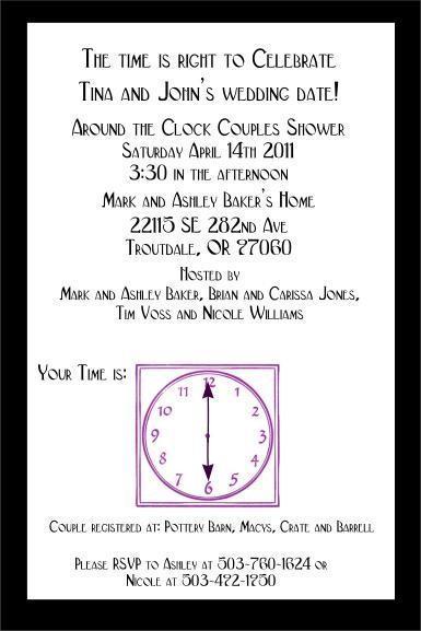 Custom Around the Clock Bridal Shower invitations