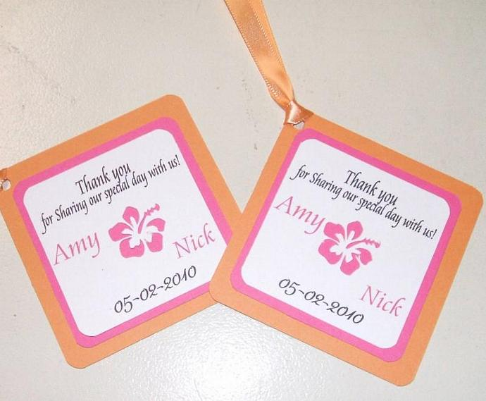 50 Custom Favor tags- custom colors, die cut doubl