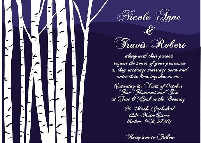 100 Custom Birch Tree Wedding invitation sets