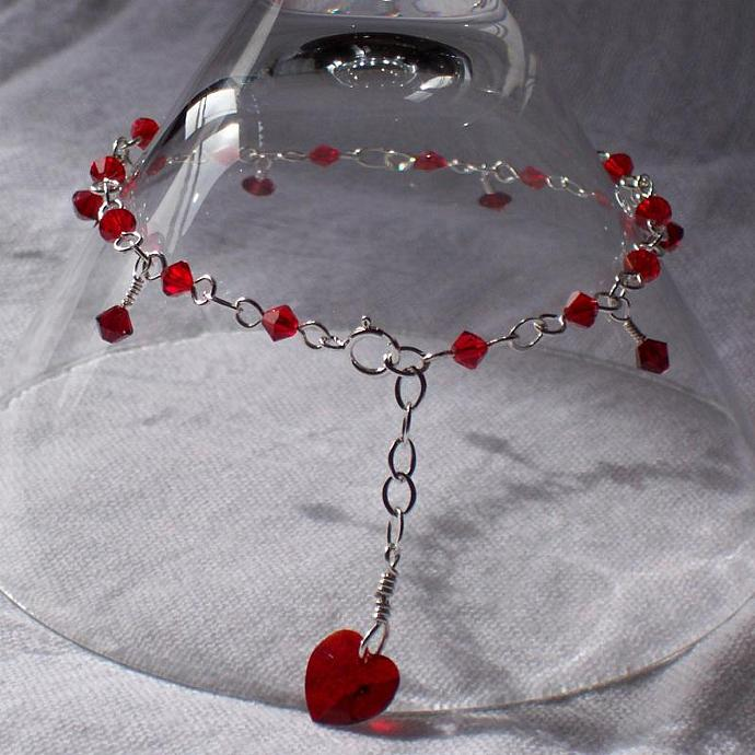 Made-to-Order Swarovski Crystal and Wire Bracelet with Heart Accent