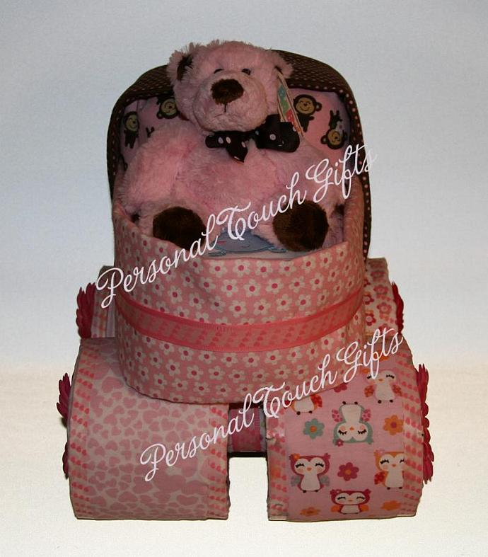 Pink Baby Carriage Pram Diaper Cake for Girl