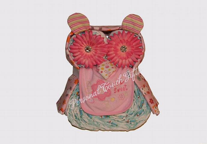 Pink Owl Diaper Cake for Girl