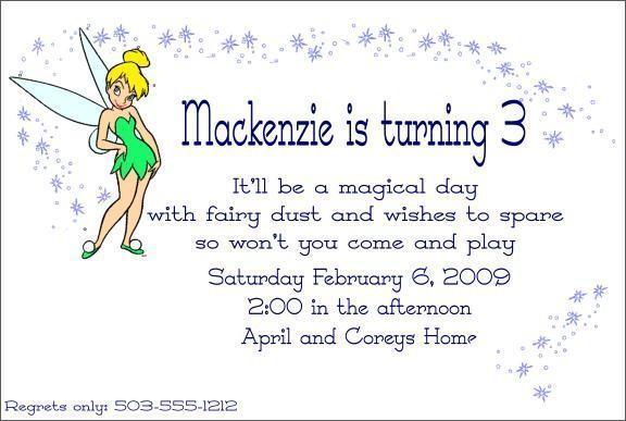 Custom Tinkerbell Childrens Invitation