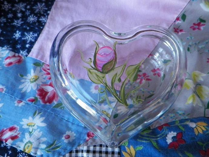 Rose on a Glass Heart Dish