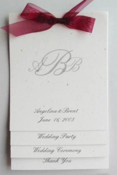 150 Custom wedding programs layered style with rib