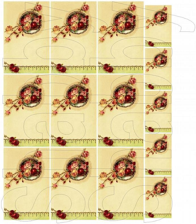 Shabby Chic Roses Journal spot digital collage sheet for scrapbook and cards