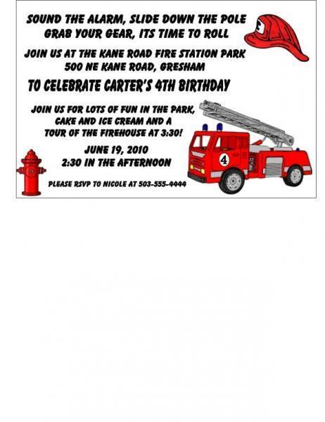 25 Customizable Fireman Childrens Birthday invitat