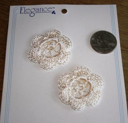 2 Beautiful Petite round Ivory crochet doilies for cards and scrapbooks shabby