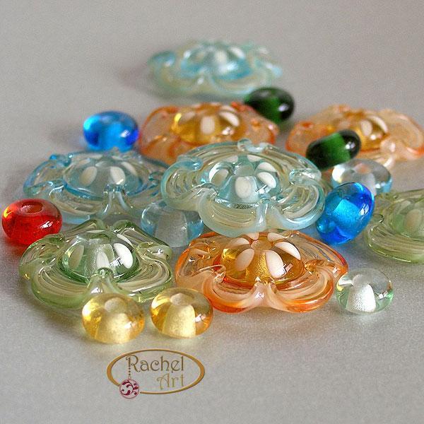 Flower Glass Beads, Lampwork Flower Beads, Handmade Lampwork Glass Disc Beads