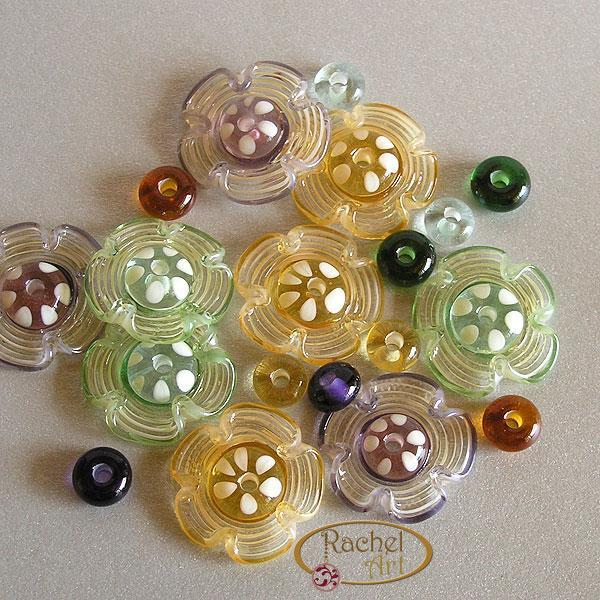 Flower Lampwork Beads, Floral Lampwork Glass Beads, Handmade Lampwork Glass Disc