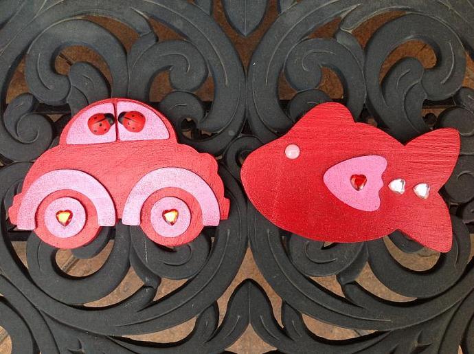 Love Magnets - Volkswagen Bug & Love Fish