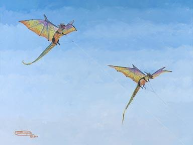 """""""Double Dragons"""" Giclee Paper Print by Carol Thompson"""