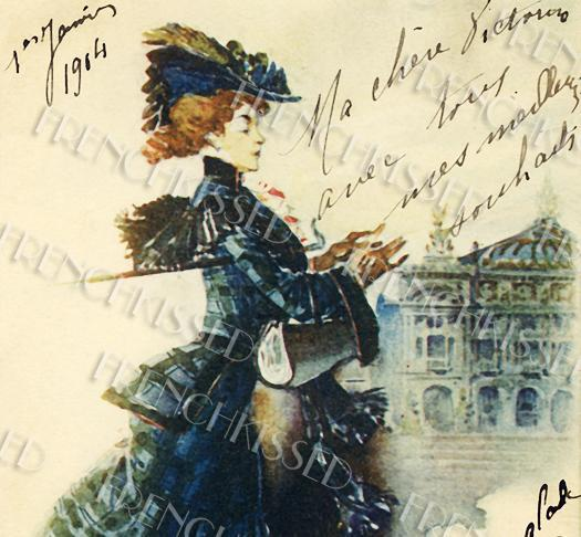 DIGITAL Scan Paris FASHION Parisian Haute Couture 1904 Victorian woman French