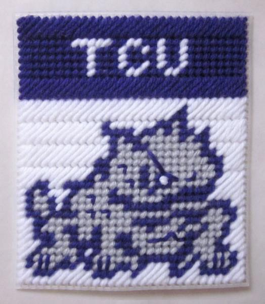 TCU tissue box cover in plastic canvas PATTERN ONLY (PDF)