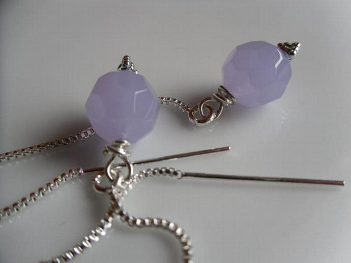 Lavenders Czech-Ear Thread Earrings