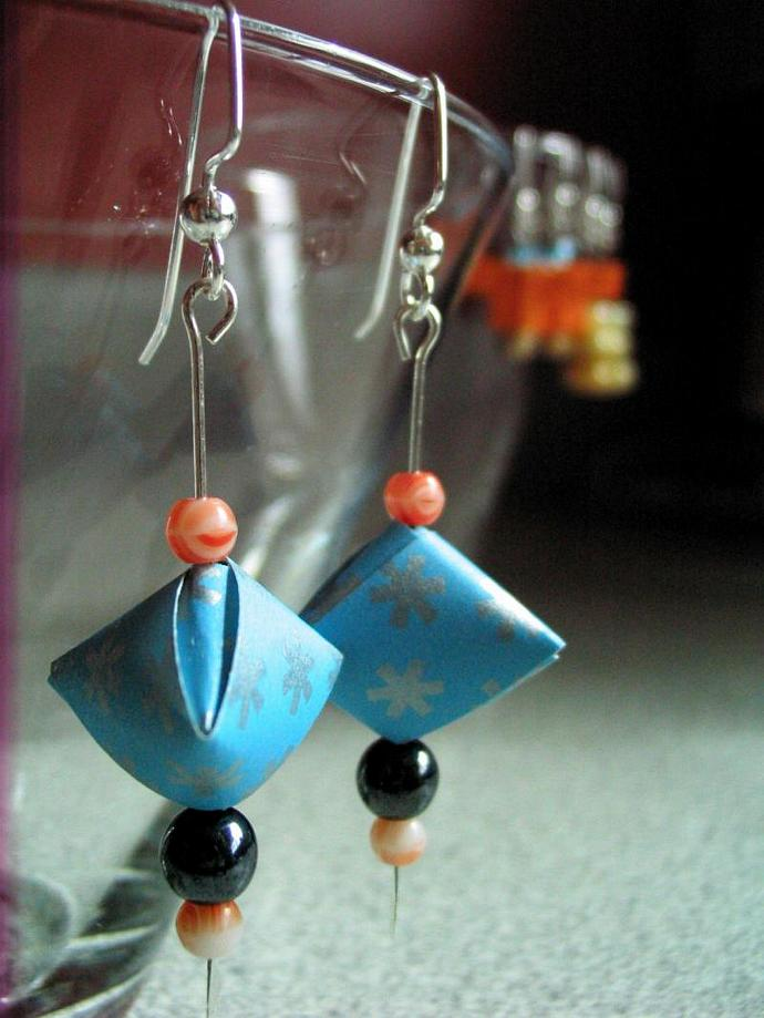 3-D Pyramid Origami Earrings