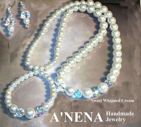 Set: Necklace, Earrings and Bracelet, Glass Pearls and Swarovski Crystal