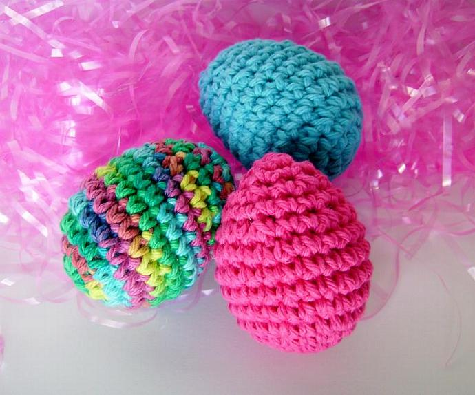 Crocheted Easter Egg Set of Three for Spring Decor