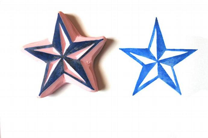 Nautical Star Hand Carved Rubber Stamp