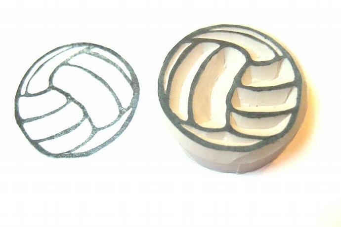 Volleyball Handmade Rubber Stamp, Hand Carved Stamp