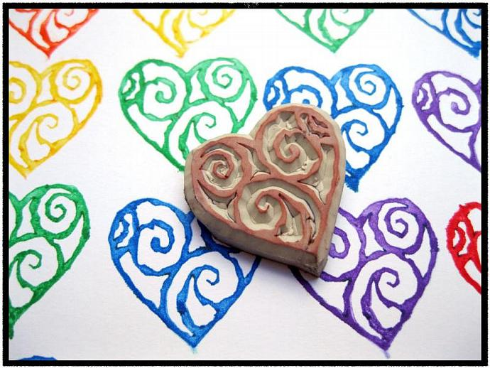 Swirly Heart Rubber Stamp, Hand Carved Rubber Stamp