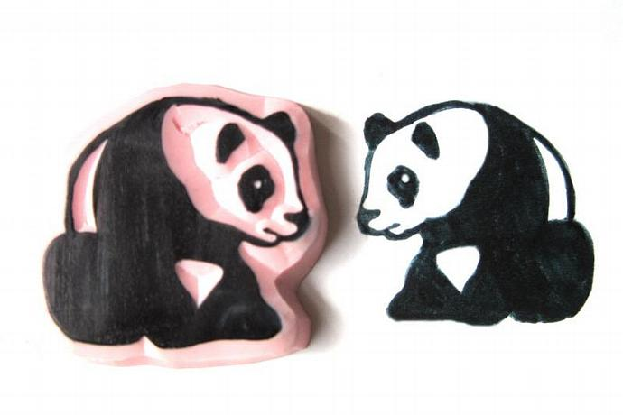 Panda Bear Hand Carved Rubber Stamp