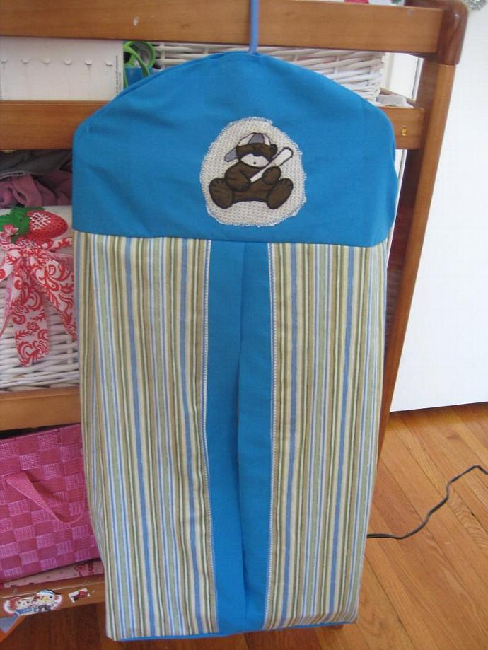 Blue and Green Striped Baseball Bear Diaper Stacker