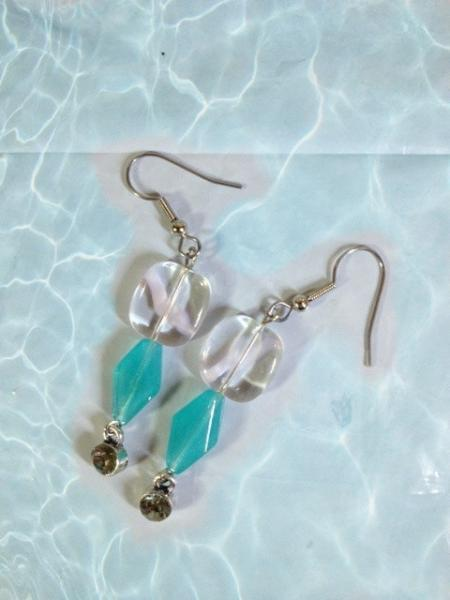 FREE SHIPPING Flirty Aquamarine Dangle Earrings, 2.5 in long, Sterling Silver