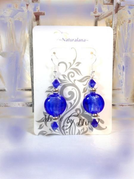SALE, AND FREE SHIPPING, U.S. only. Versatile Blue Earrings. Glass and Silver