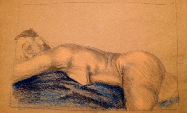 Art-Original nude sketch of African American Female figure  with pastel on brown