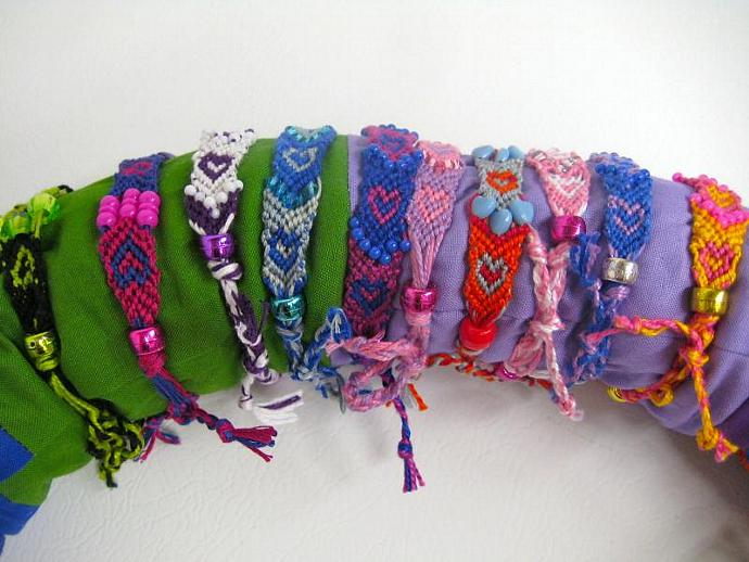 Grab Bag of Beaded Heart Micro Macrame Friendship Bracelet Set of 15