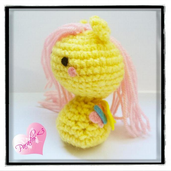 Handmade Crochet Fluttershy My Little Pony Amigurumi Toy Plush Kawaii Japan MLP