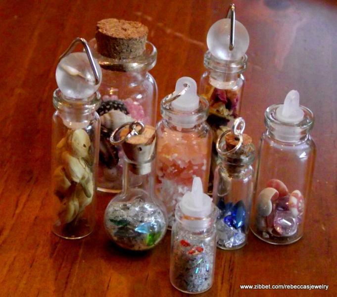 Bottle of Sea Shells and Gems Pendant